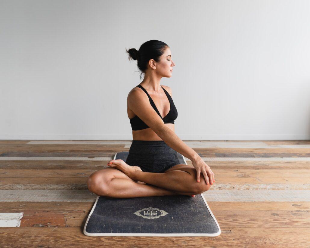 woman performing yoga